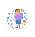 boy with a backpack behind his back banner vector image vector image