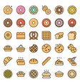 bread donut pie bakery product filled outline vector image vector image