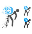 broken dot halftone financial courier icon vector image
