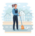 cartoon character girl holding a broom vector image