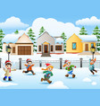 cartoon kids playing in the snowing village vector image vector image