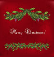 christmas decoration with holly and spruce tree vector image vector image