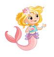 cute blonde mermaid and flowers cartoon vector image vector image