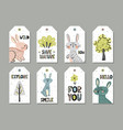 cute rabbits gift tags set in scandinavian style vector image vector image