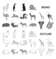 different animals monochrom icons in set vector image