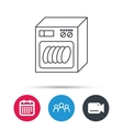 Dishwasher icon Kitchen appliance sign vector image