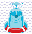 dolphin with lifebuoy on a striped background vector image vector image