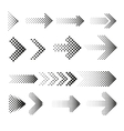 Dotted halftone arrows set vector image vector image
