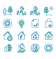 ecology flat line icon set vector image