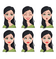 face expression of beautiful brunette woman vector image vector image