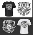 fire department vintage emblem t-shirt print vector image vector image