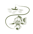 fisherman in boat and funny trout vector image vector image
