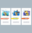 flat banner business training video conference vector image