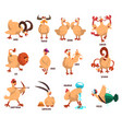 funny farm chicken showing 12 zodiac signs vector image vector image