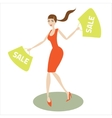 girl runs with purchases vector image