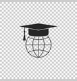 graduation cap on globe icon isolated vector image vector image