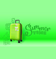 green plastic suitcase on green background summer vector image