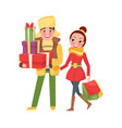 happy young family getting ready to xmas eve vector image vector image