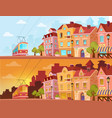 historical city street in sunset sunrise and vector image