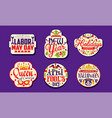 holiday stickers collection labor may day new vector image vector image