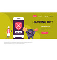 indian man incorrect password hacking bot concept vector image vector image