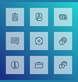 job icons line style set with briefcase setting vector image vector image