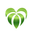 love nature green leaf and heart shape logo vector image