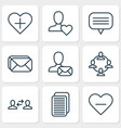 network icons set with unread letter vector image vector image