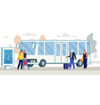 passengers waiting bus on city bus stop vector image