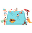 people relaxing poolside women and men on vector image