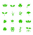 plant and leaf icon set nature and geology vector image