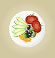 plate with tomatoes and olives vector image