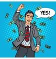 Pop Art Excited Businessman Celebrating vector image vector image
