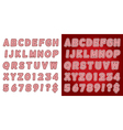 Red Candy Cane Alphabet Set vector image