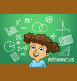 school girl write math sign object in school vector image vector image