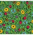 Seamless pattern with garden flowers Creative vector image