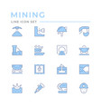 set color line icons mining vector image