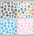 set seamless pattern with letters vector image vector image