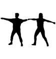 silhouette of man and woman standing holding up vector image