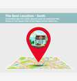 the best location sushi vector image vector image
