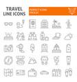 travel thin line icon set tourism symbols vector image vector image