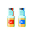 Two urine test tubes for analysis of doping
