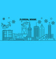 united states miami winter holidays skyline vector image vector image