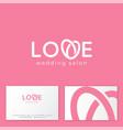 v letter love logo wedding salon emblem vector image vector image