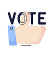 vote thumb up cartoon sign isolated on white vector image
