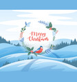 winter landscape with christmas greetings merry vector image vector image