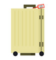 yellow suitcase on wheels with tag image vector image vector image