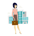 asian business woman holding briefcase vector image vector image