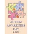 Autism awareness day background vintage vector image vector image