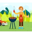 Barbecue cook background nature forest mountains vector image